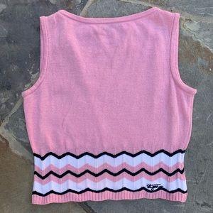 St. John   pink chevron cropped sweater vest 404